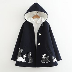 Suzette - Cat Print Hooded Jacket