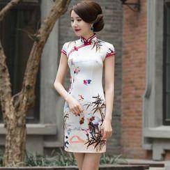 Miss Four Qipao - Floral Print Cap-Sleeve Cheongsam