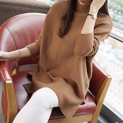 Shomez - Turtleneck Batwing Long Knit Top