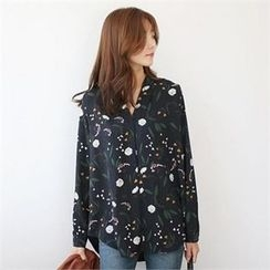 YOOM - Floral Patterned V-Neck Blouse