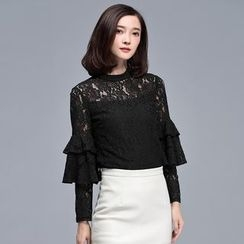 Sentubila - Lace Ruffled Long-Sleeve Top