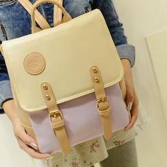 Miss Sweety - Faux-Leather Contrast-Color Backpack