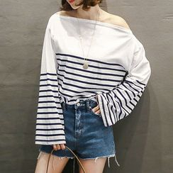 NANING9 - Off-Shoulder Striped T-Shirt