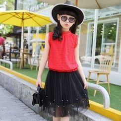 Famula - Set: Kids Sleeveless Top + Mesh Skirt