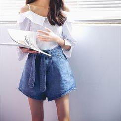 Porta - Tie-waist Denim Shorts