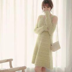 Tokyo Fashion - Cutout Shoulder Long-Sleeve Dress