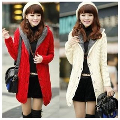 Angel Shine - Furry-Lined Hooded Long Knit Cardigan