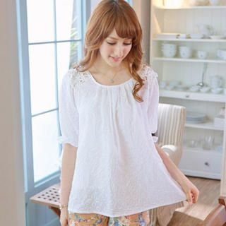 Tokyo Fashion - Puff-Sleeve Crochet Panel Printed Top
