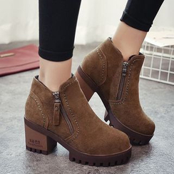 IYATO - Chunky-Heel Zip-Accent Ankle Boots