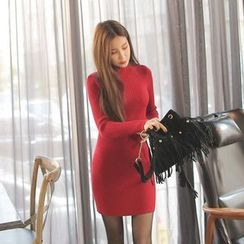 Cherryville - Mock-Neck Knit Mini Bodycon Dress