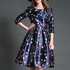 Isadora - Heart Print 3/4-Sleeve A-Line Dress