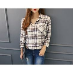 DANI LOVE - Pocket-Front Plaid Shirt