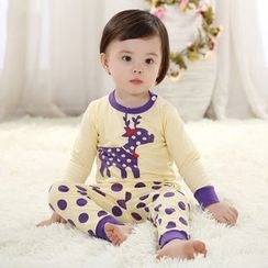 Youtale - Kids Set: Long-Sleeve Print T-Shirt + Pants