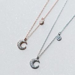 A'ROCH - Rhinestone Moon Pendant Necklace