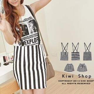 Kiwi Shop - Patterned Mini Skirt / Pencil Skirt With Suspender