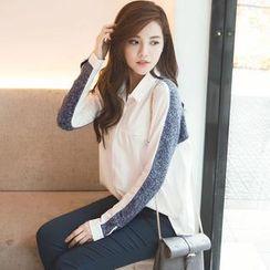 Tokyo Fashion - Long-Sleeve Knit-Panel Shirt