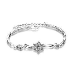 BELEC - 925 Sterling Silver Snowflakes with White Cubic Zircon Bracelet