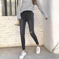 Enocula - 做舊窄身牛仔褲