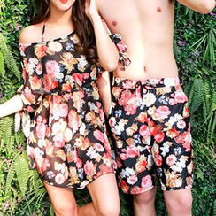 Sweet Splash - Couple Matching Floral Print Bikini + Short Sleeve Dress / Swim Shorts