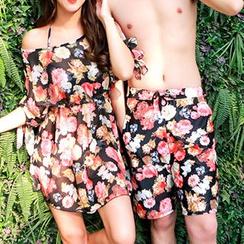 Sweet Splash - 情侶裝碎花比基尼 + 短袖連衣裙 / 泳褲