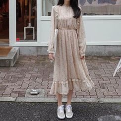 mimi&didi - Long-Sleeve Gathered-Waist Frill-Trim Floral Long Dress