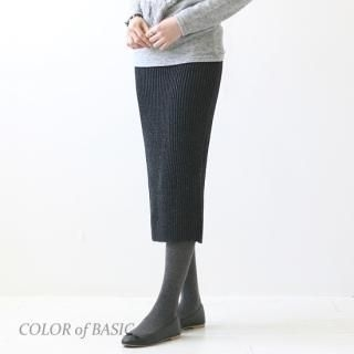 COLOR of BASIC - Wool-Blend Ribbed Knit Midi Skirt