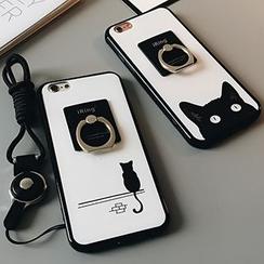 Casei Colour - 猫咪印花保护套连指环手机座 - iPhone 6 / 6s / 6 Plus