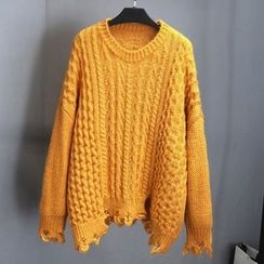 Poppy Love - Ripped Cable Knit Sweater