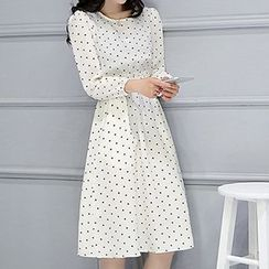 Romantica - Long-Sleeve Smocked-Waist Printed Dress