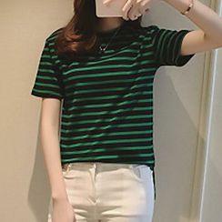 Shimi - 條紋圓領T恤