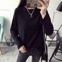 Qimi - Plain Long-Sleeve T-Shirt