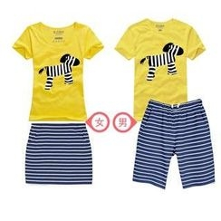 Love Affairs - Couple Set: Printed T-Shirt + Shorts / Pencil Skirt