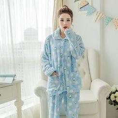 Fancy Show - 睡衣套裝: 長袖襯衫 + 印花長褲