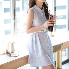 Angel Shine - Stripe Sleeveless Shirtdress