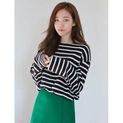 FROMBEGINNING - Striped Loose-Fit T-Shirt