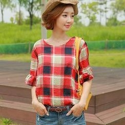 CLICK - Elbow-Sleeve Check Top