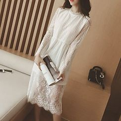 Rocho - Long-Sleeve Lace Midi Dress