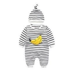 MOM Kiss - 婴儿套装: 条纹连身衣 + 无边帽