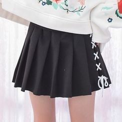 Moriville - Lacing Detail Pleated Skirt