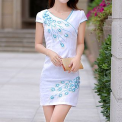 MyShow - Cap-Sleeve Embroidered Sheath Dress