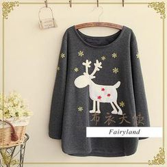 Fairyland - Reindeer Appliqué Brushed Fleece-Lined T-Shirt
