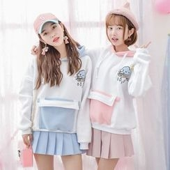 Moriville - Cloud Applique Color Block Hoodie