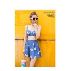 Jumei - Set: Daisy Print Bikini + Off-Shoulder Top + Cover-Up Skirt
