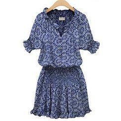 米兰阁 - 短袖荷叶边印花连衣裙