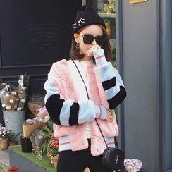 Ashlee - Furry Color Block Jacket
