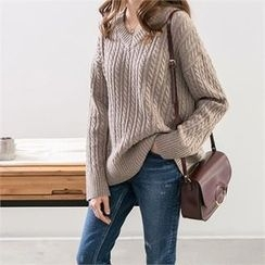 PIPPIN - V-Neck Wool Blend Cable-Knit Sweater