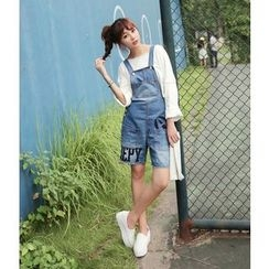 Jeans Kingdom - Lettering Dungaree Shorts