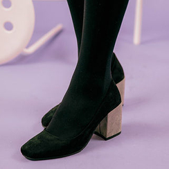 chuu - Block-Heel Faux-Suede Pumps