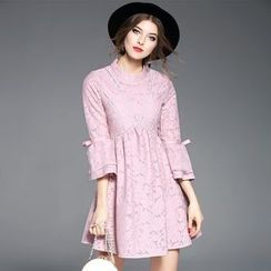 Ozipan - Long-Sleeve Lace Ruffled Dress