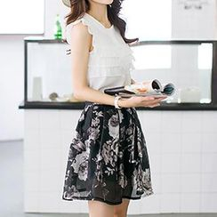 Jiuni - Set: Sleeveless Frill Top + Floral Print Skirt